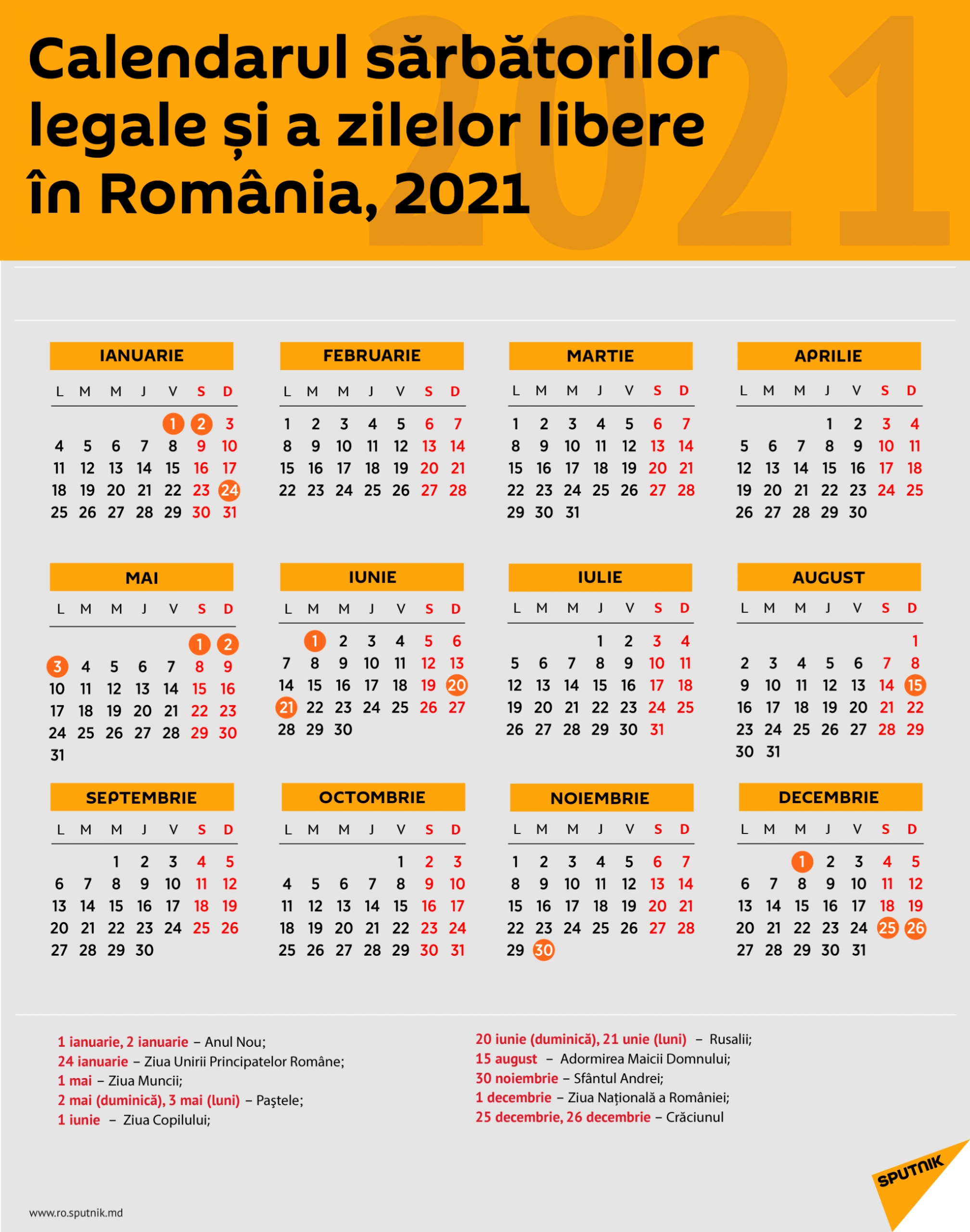 românia: calendarul zilelor libere Și de sărbătoare În 2021