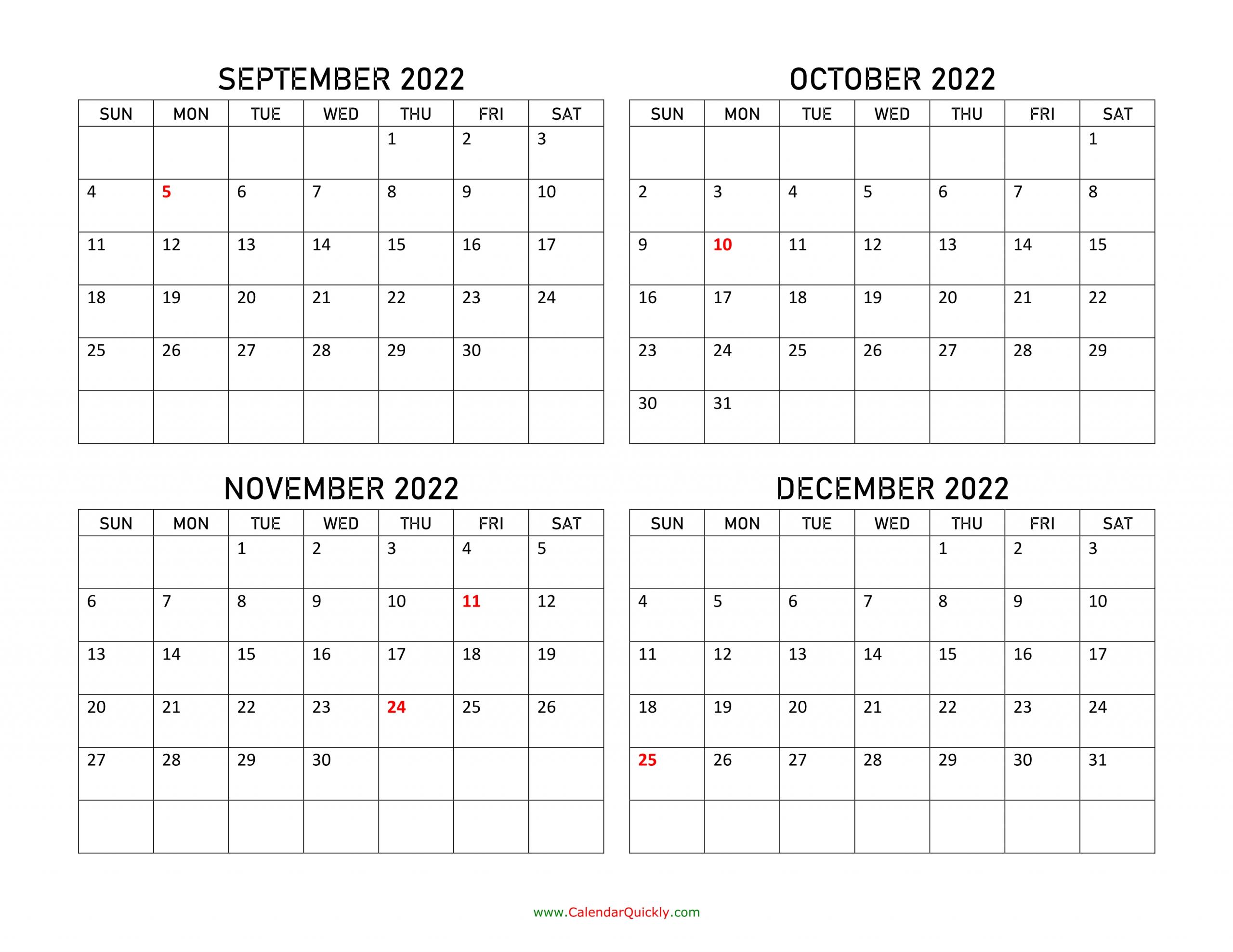september to december 2022 calendar   calendar quickly