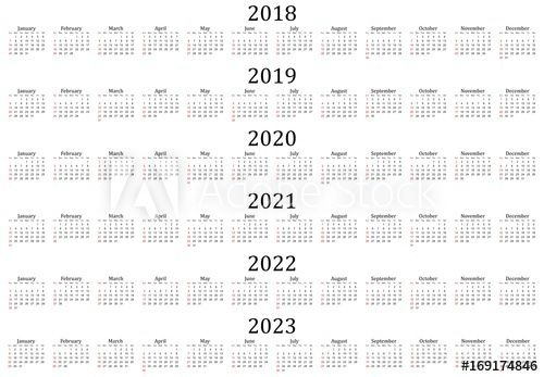 """six year calendar 2018, 2019, 2020, 2021, 2022 and 2023"