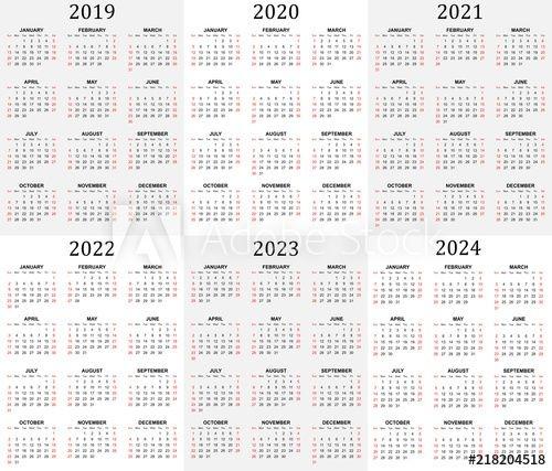 """six Year Calendar 2019, 2020, 2021, 2022, 2023 And 2024"