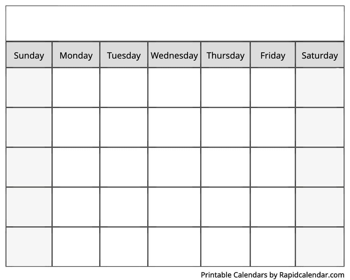Sunday Through Saturday Blanl Calendar : Free Calendar
