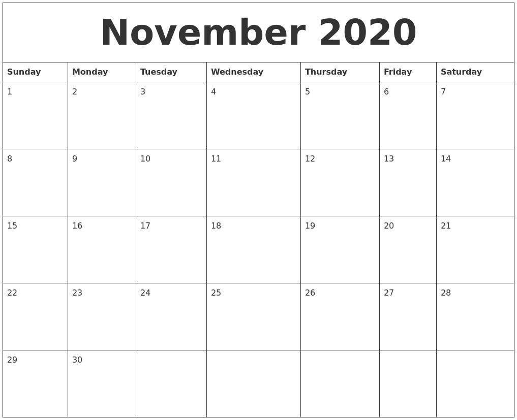 Sunday Thru Saturday Blank Calendar | Calendar Printables