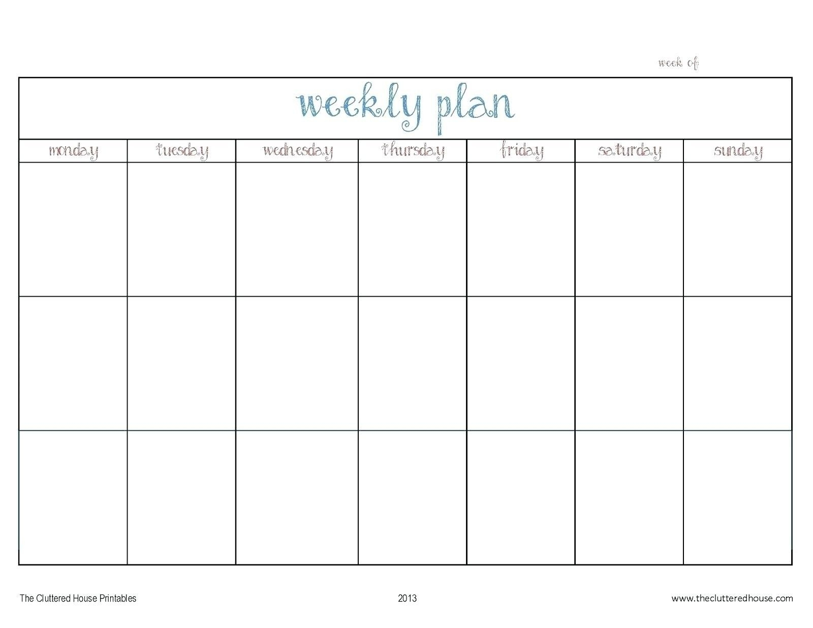 Template For Monday To Friday | Example Calendar Printable
