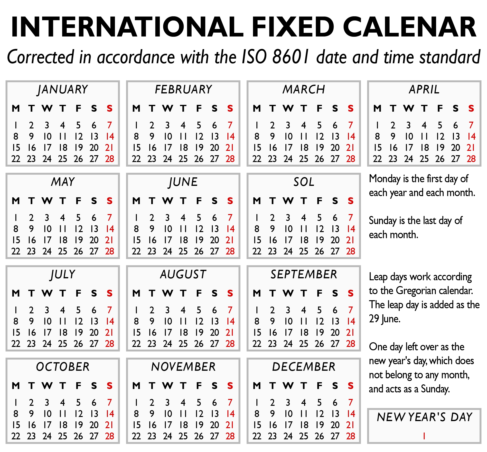 the international fixed calendar, but actually using the
