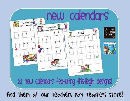 the teacher's desk printable calendars 2care2teach4kids