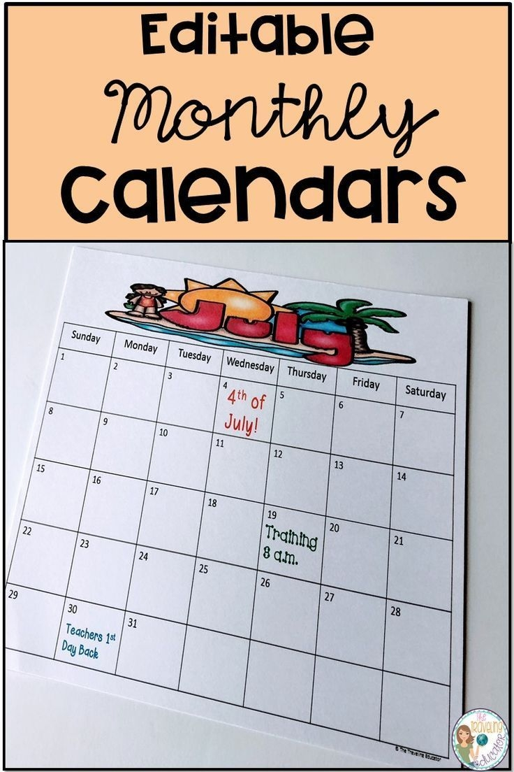 These Monthly Calendars Make It Easier For Teachers To