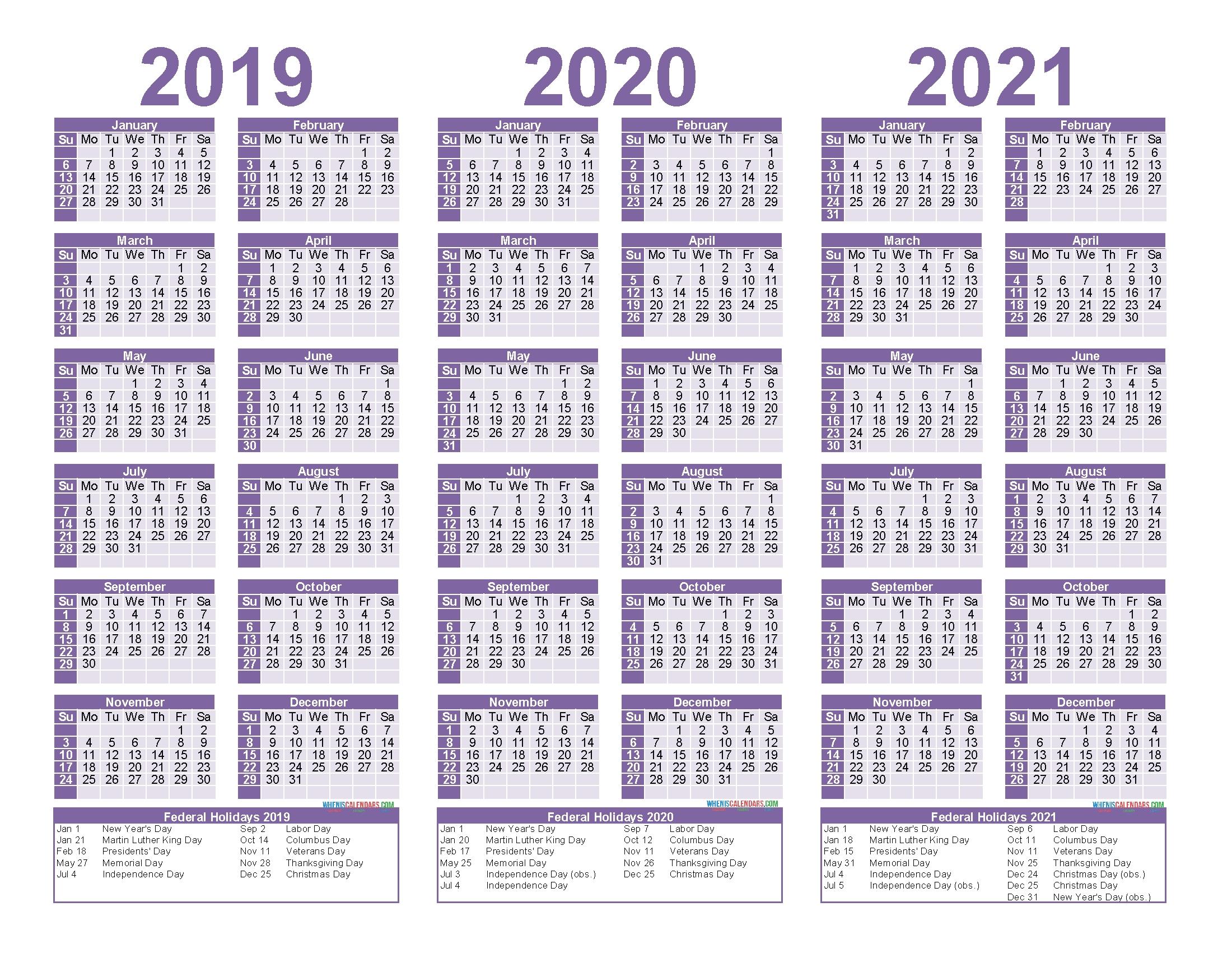 three year calendar 2021 | calendar printables free blank