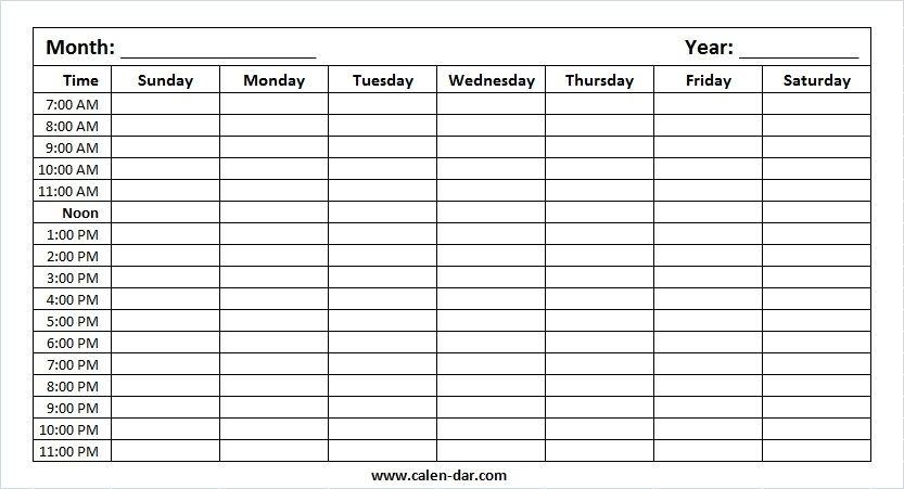 to do list with time slots print | printable calendar