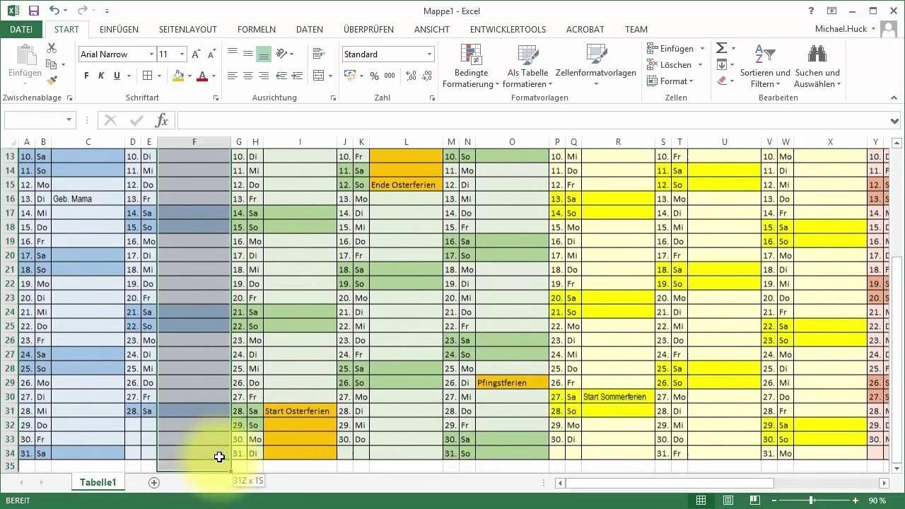 tutorial excel kalender jahresübersicht youtube