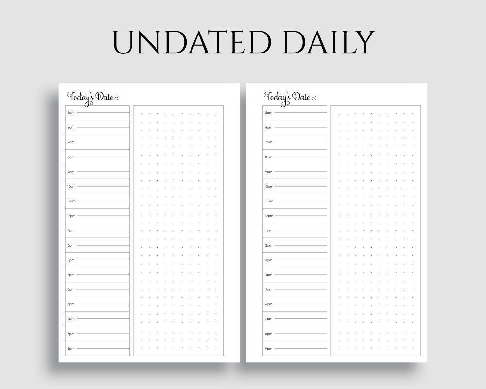 undated daily layout with schedule, dot grid notes