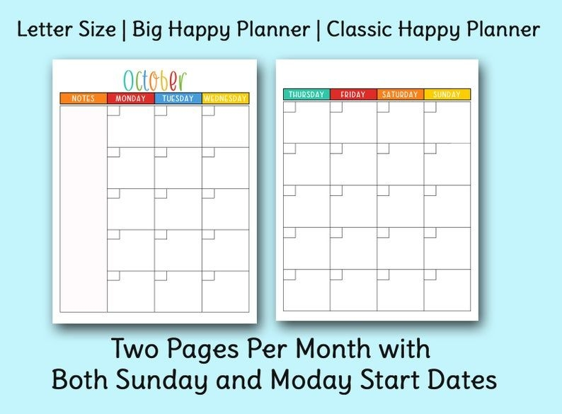 Undated Two Page Monthly Sunday And Monday Start Calendar
