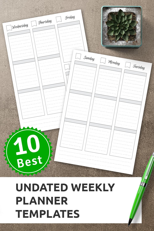 Undated Weekly Schedule | Weekly Planner Template