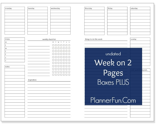 Undated Wo2p Boxes Plus [printable] | Daily Planner