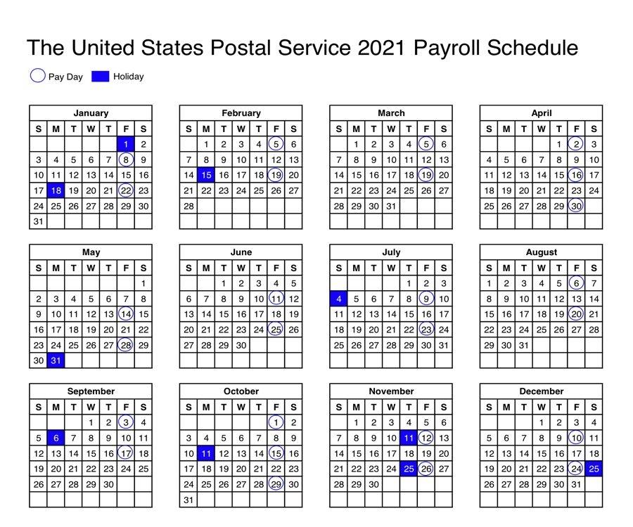 Usps Calendar 2021 Payroll Schedule For Postal Employees