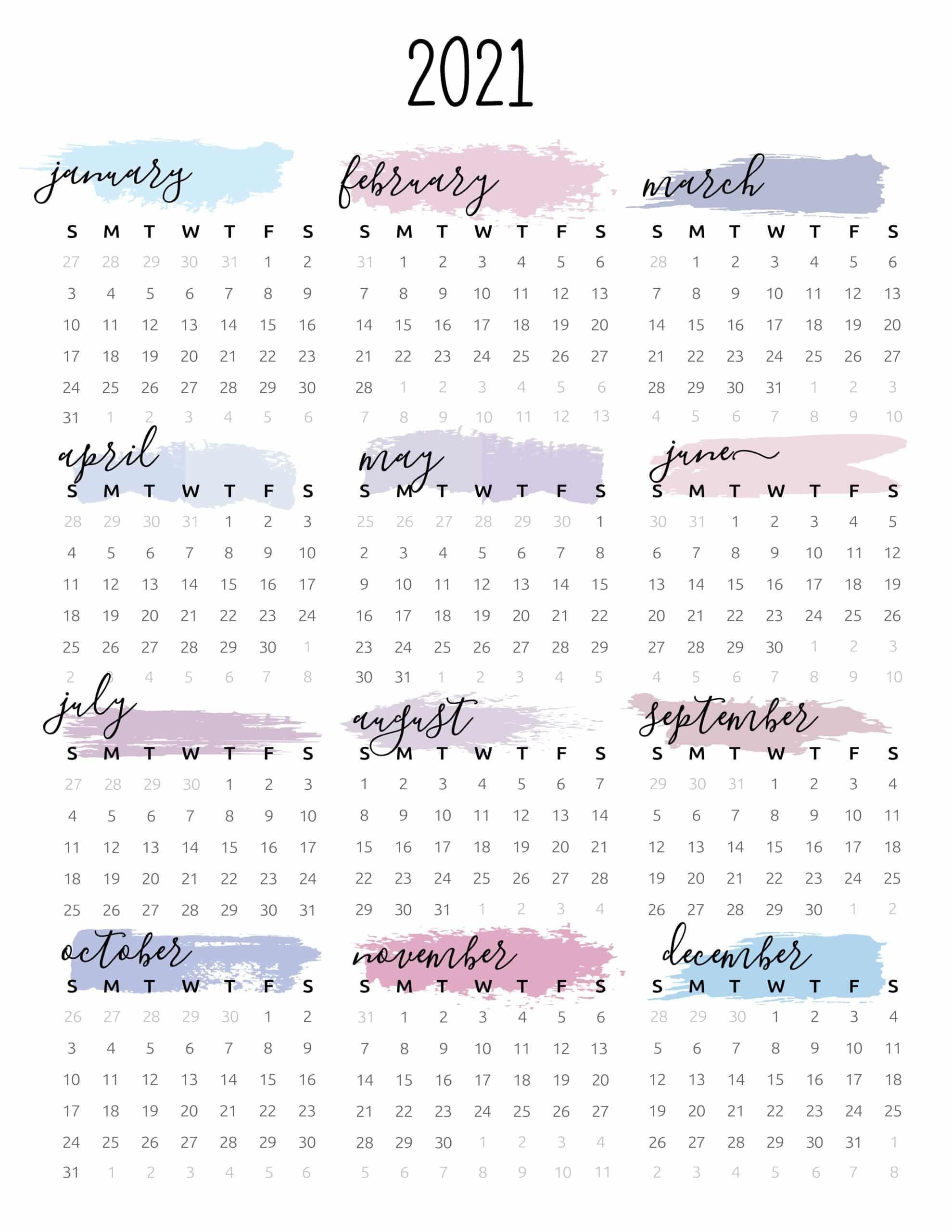 Watercolor One Page 2021 Calendar World Of Printables