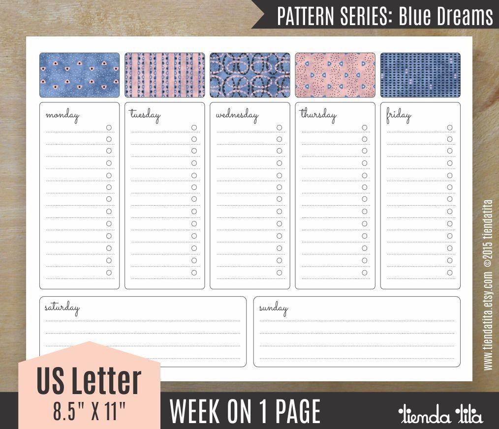 Week At A Glance Desk Planner Printable Blue Dreams Pdf