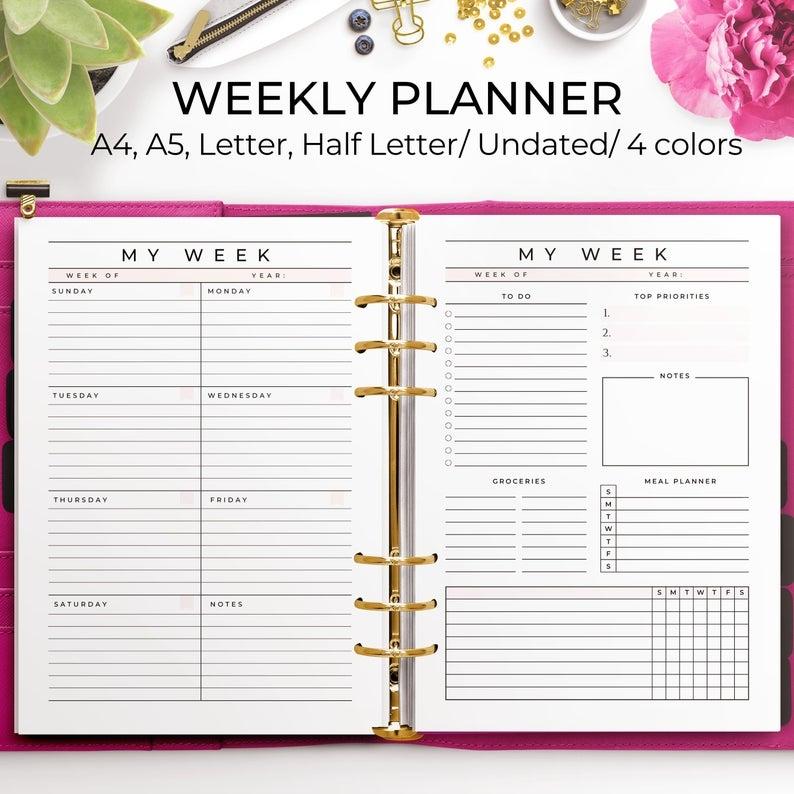 Week At A Glance Printable, Weekly Planner Undated, Week