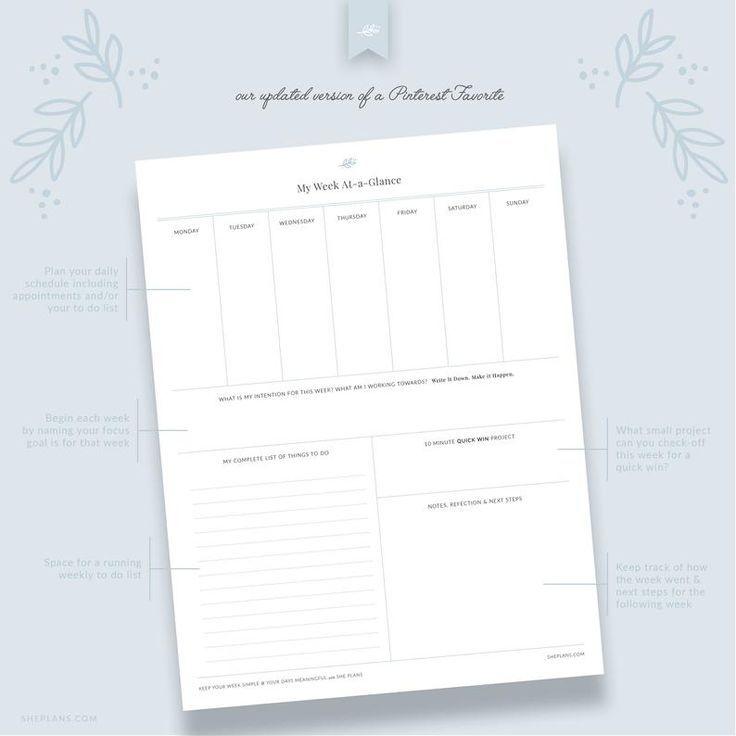 week at a glance | printable worksheet, weekly agenda
