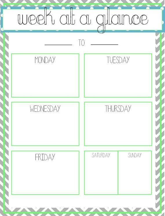 Week At A Glance Template Excel Yahoo Search Results