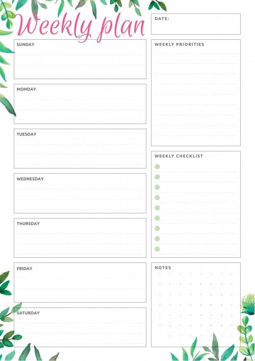 Week At A Glance | Weekly Planner Template, Weekly
