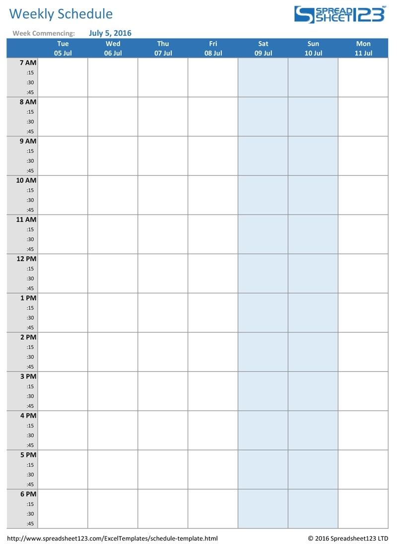 Week Calendar Excel Spreadsheet | Ten Free Printable