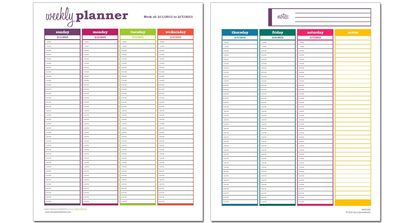 Week Calendar Hour Slots | Ten Free Printable Calendar