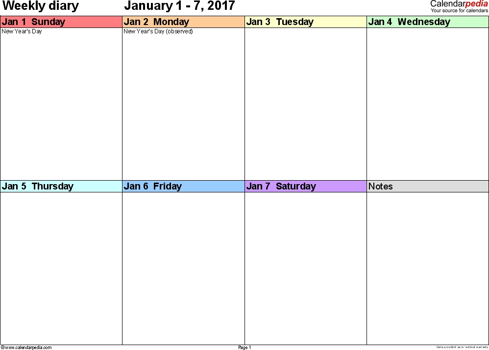 Weekly Calendar 2017: Template For Pdf Version 7