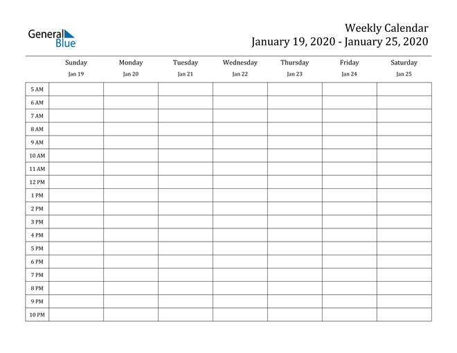 weekly calendar january 19, 2020 to january 25, 2020