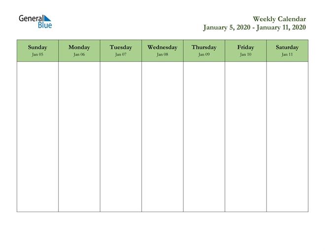 weekly calendar january 5, 2020 to january 11, 2020