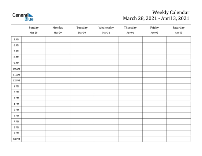 weekly calendar march 28, 2021 to april 3, 2021 (pdf