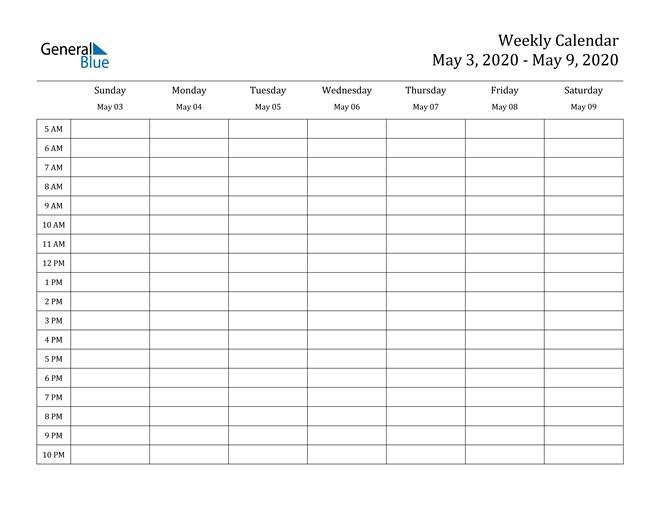 weekly calendar may 3, 2020 to may 9, 2020 (pdf, word