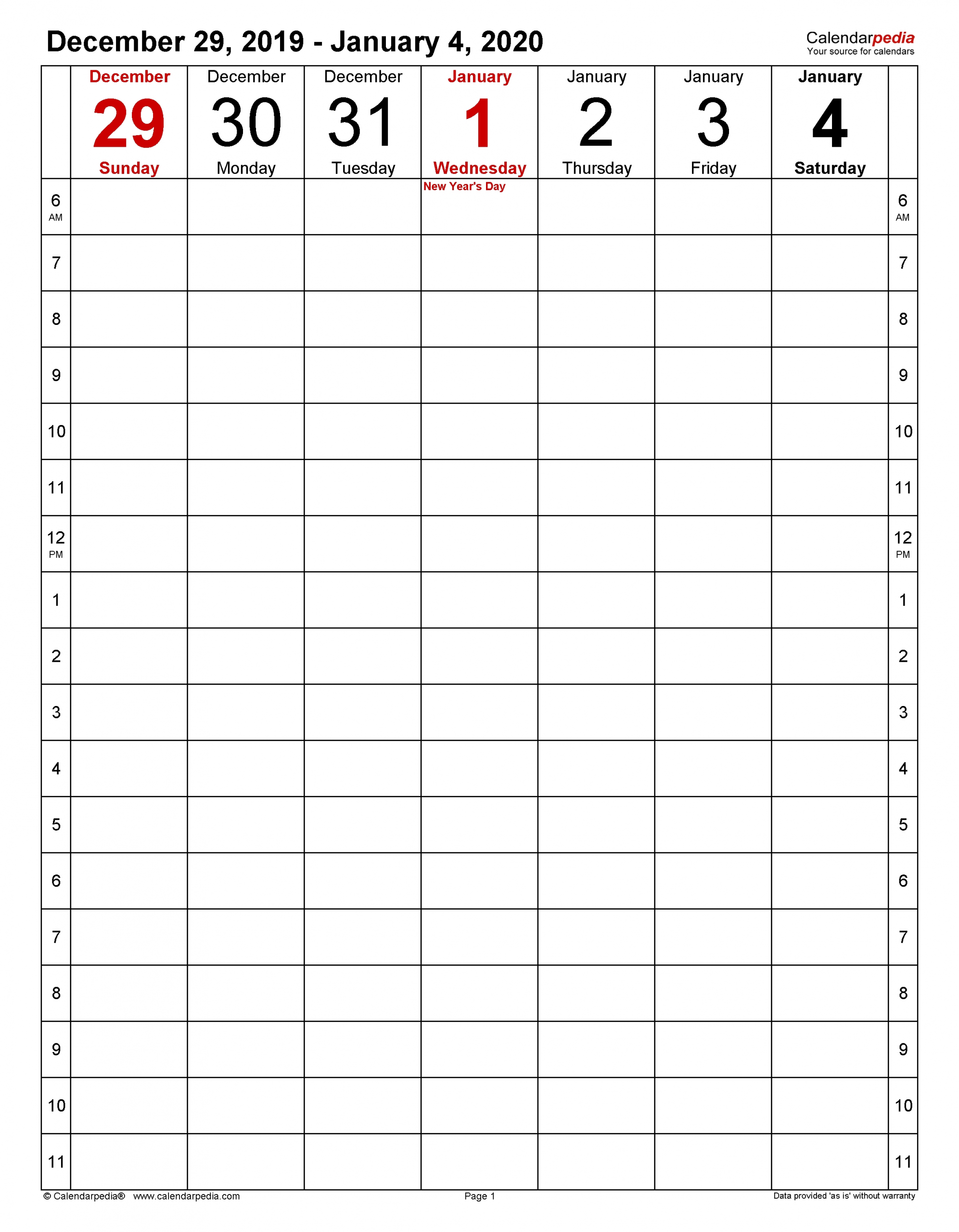 weekly calendars 2020 for pdf 12 free printable templates