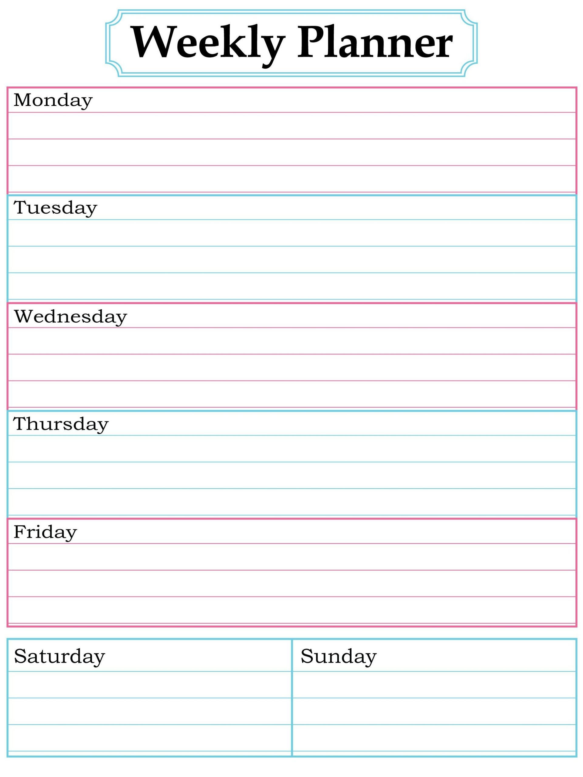 weekly planner page (with images)   weekly planner