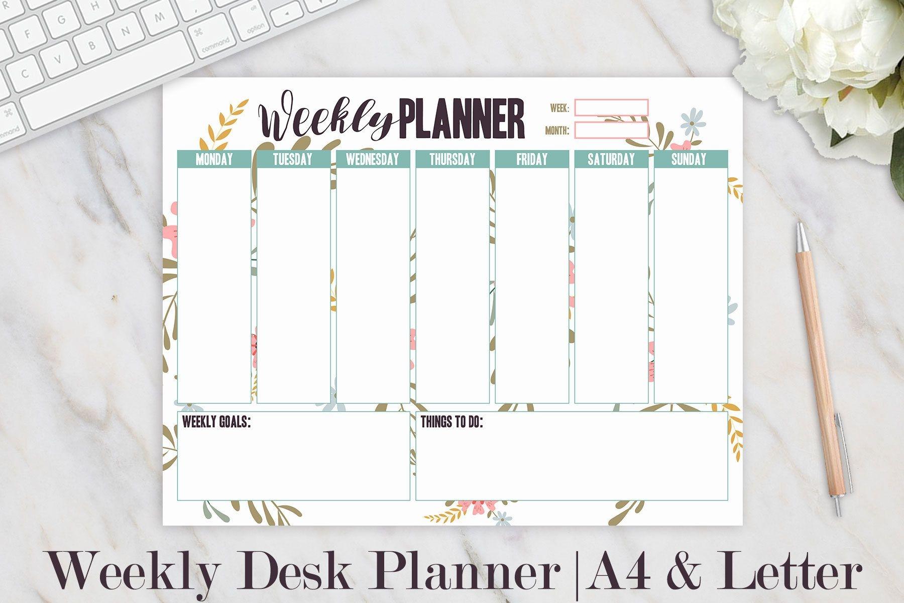 weekly planner printable weekly desk planner weekly