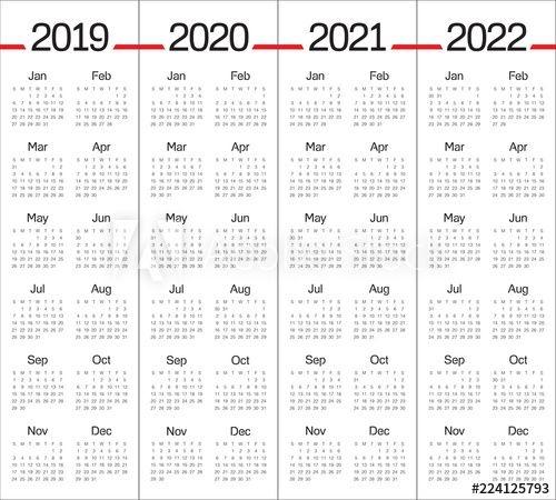 """year 2019 2020 2021 2022 Calendar Vector Design Template"