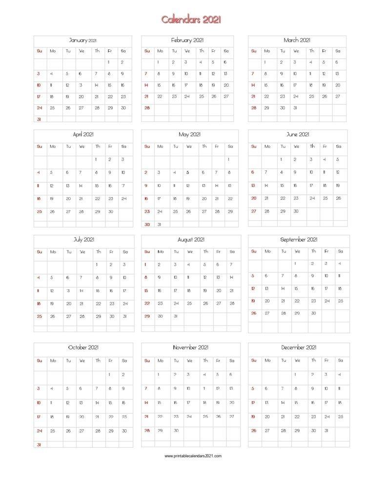Year 2021 Calendar Printable One Page | Ten Free Printable