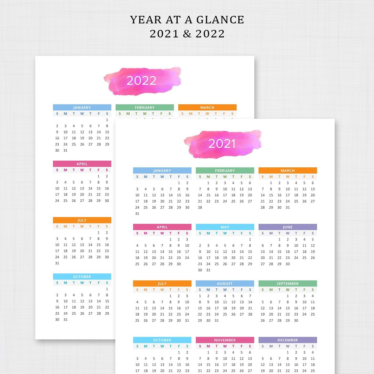 Year At A Glance 2021 2022   Printable Yearly Calendar