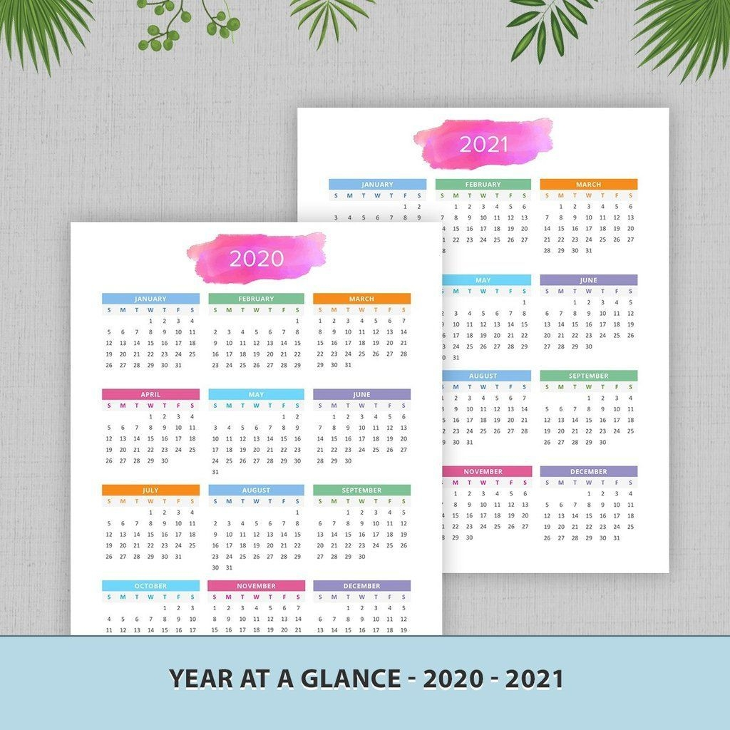 year at a glance yearly calendar 2020 2021 #