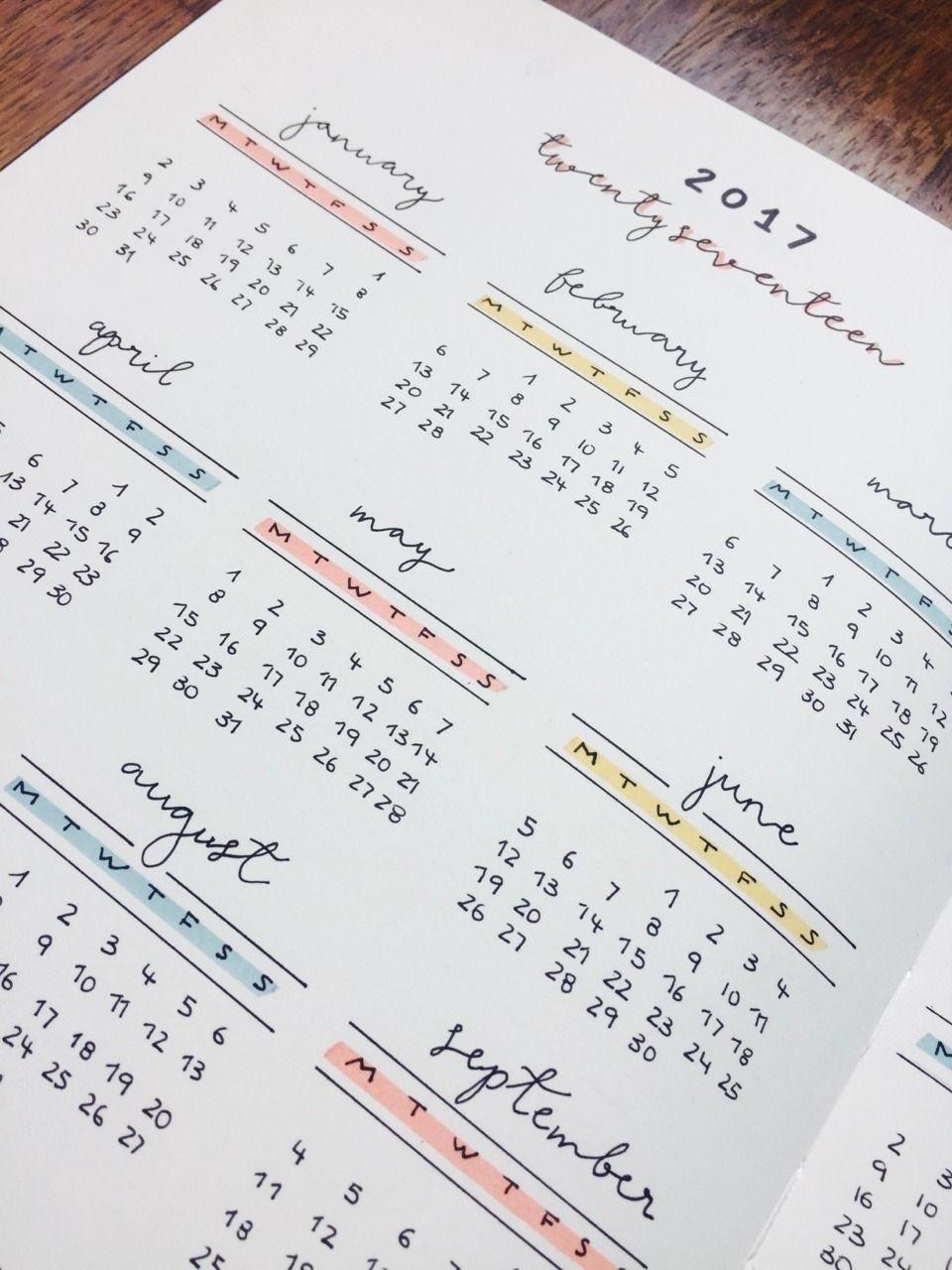 year calendar bullet journal | ten free printable calendar