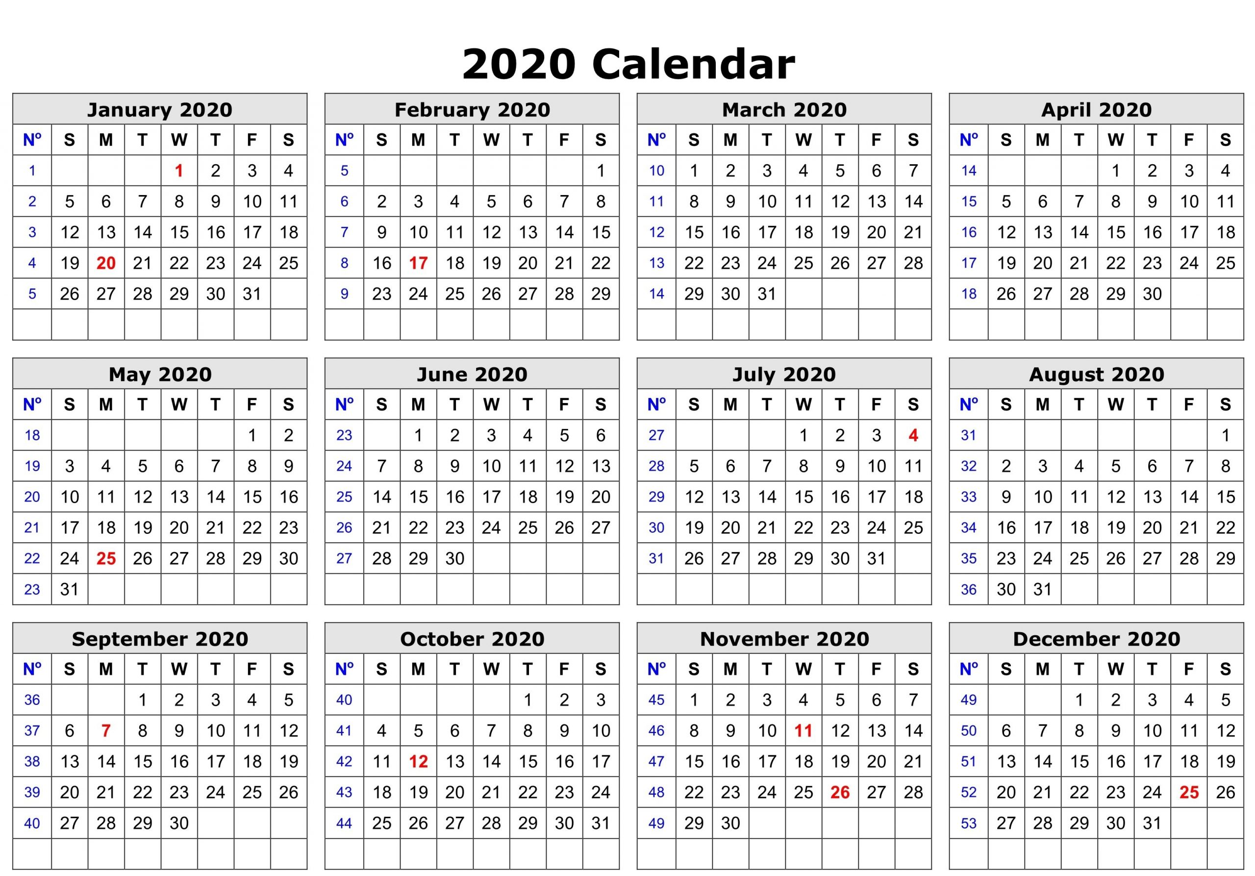 year calendar free printable 2020 | calendar printables
