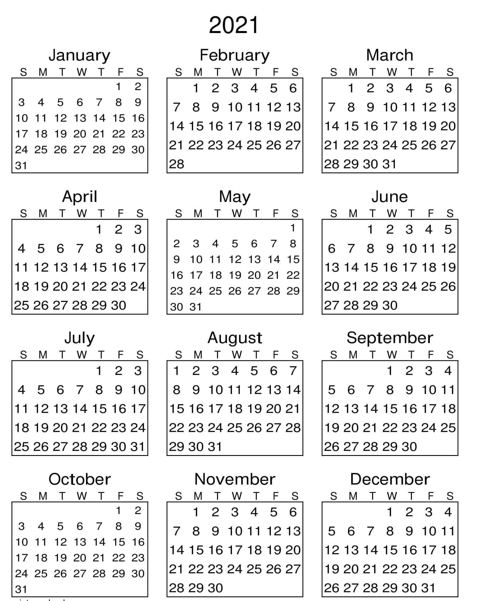 yearly calendar with notes 2021 editable template set