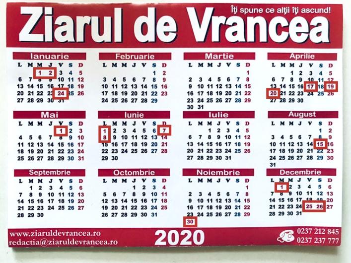zile libere 2020 calendarul sărbătorilor legale