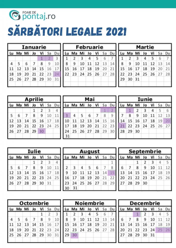 zile libere 2021 | calendar sărbători legale | foaie de pontaj